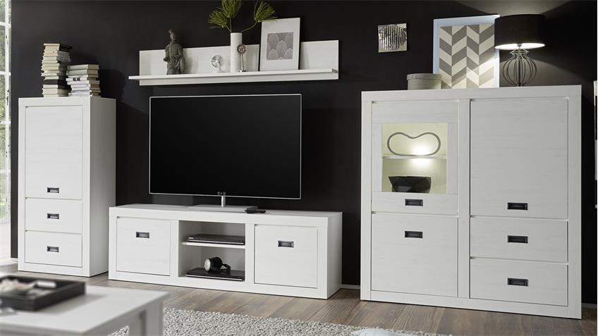 wohnwand biarritz anbauwand in pinie wei 4 teilig. Black Bedroom Furniture Sets. Home Design Ideas