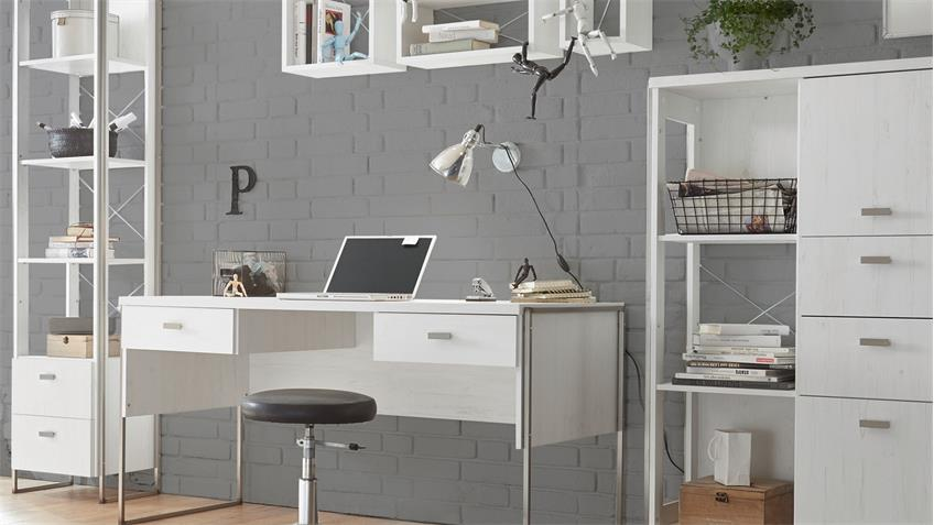 wohnwand home office frames b rokombination in pinie wei und metall. Black Bedroom Furniture Sets. Home Design Ideas