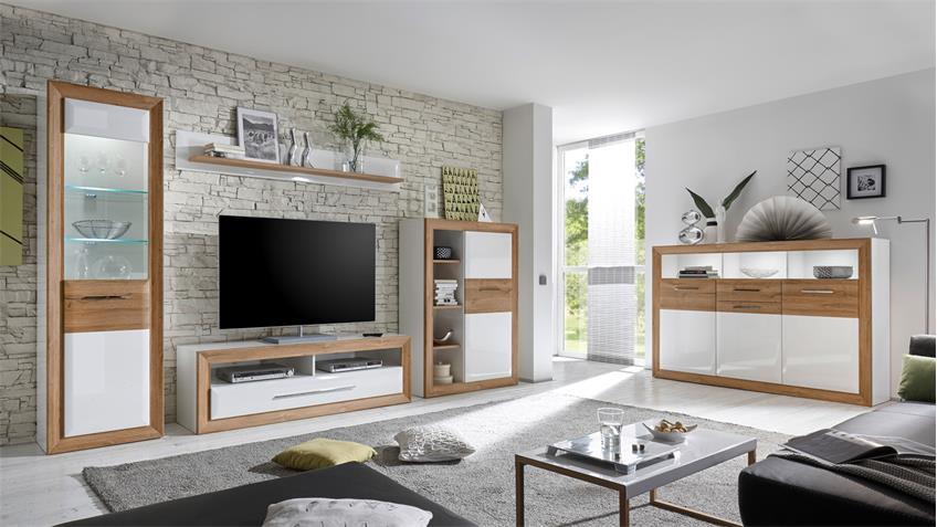 wohnwand 1 passepartout in mdf wei hochglanz und. Black Bedroom Furniture Sets. Home Design Ideas