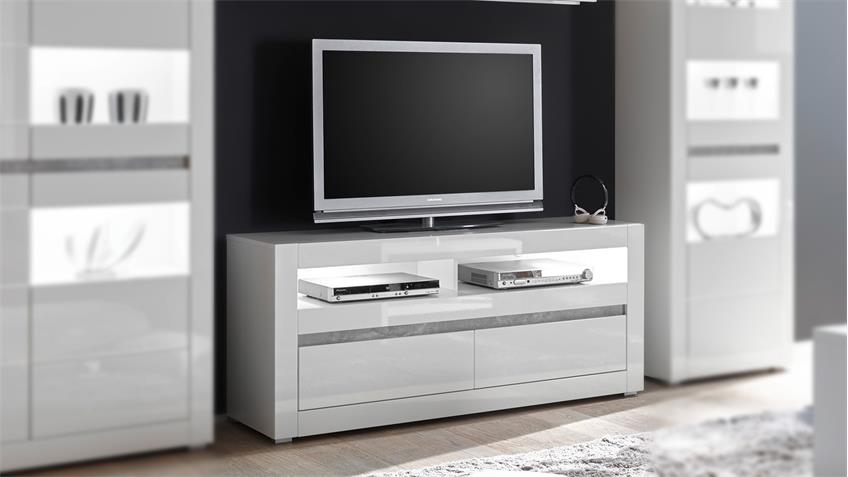 tv board carat lowboard unterschrank in wei hochglanz und. Black Bedroom Furniture Sets. Home Design Ideas