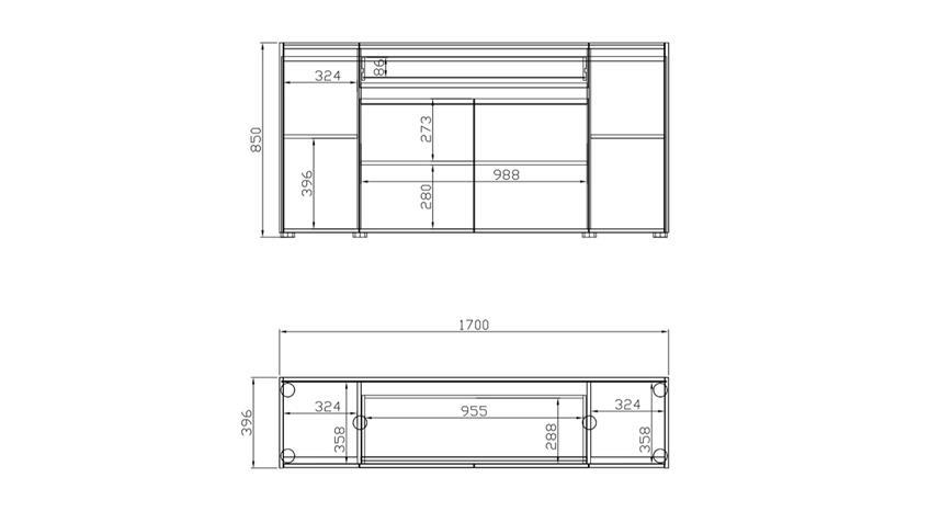 Sideboard T-STAR in anthrazit und Eiche mit 4 Türen