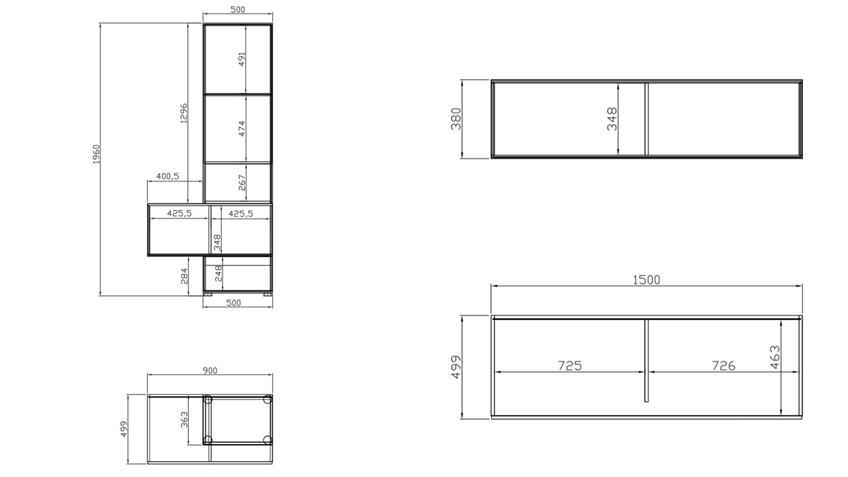 Wohnwand T-STAR 4-teilig in weiß und Eiche modern