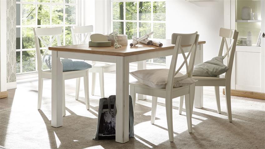 Esstisch LANDHAUS in Pinie weiß und Wotan Eiche Tisch