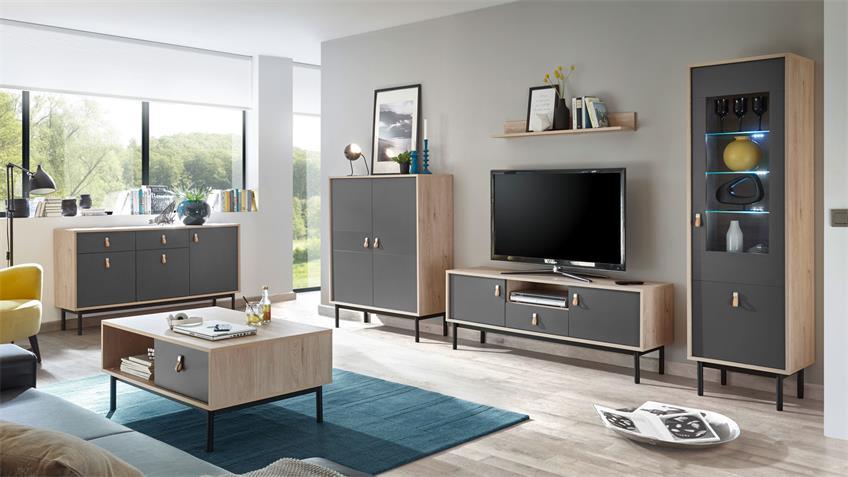 TV-Board SVEN Lowboard grau und Jackson Hickory 154x57