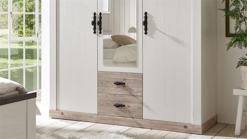Kleiderschrank FLORENZ Schrank Oslo Pinie weiß 169x201