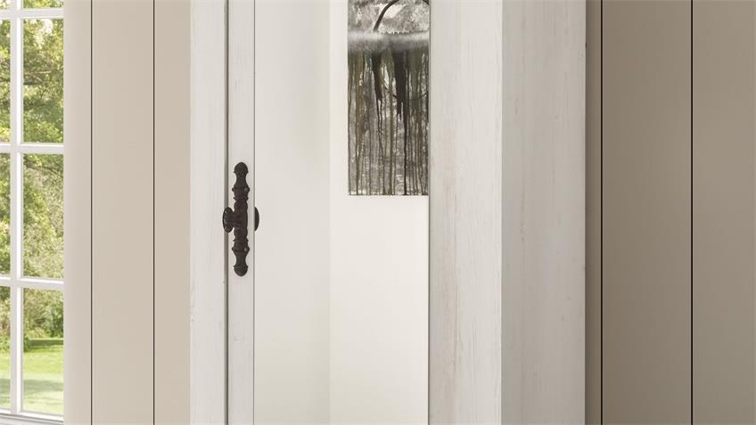 Garderobenschrank 27 FLORENZ mit Spiegel Oslo Pinie weiß
