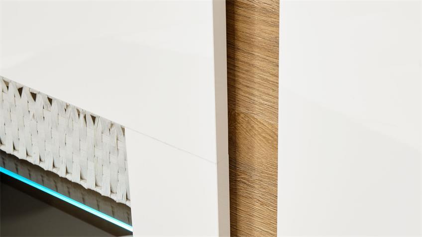 Sideboard 51 CLAIR Kommode weiß Glanz und Eiche 138x91
