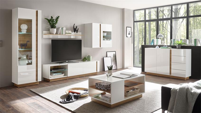 Sideboard 53 CLAIR Anrichte weiß Glanz und Eiche 138x91