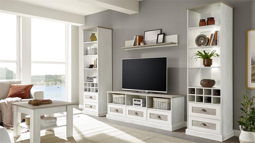 Lowboard COLORADO TV-Board Pinie antik weiß 160 cm