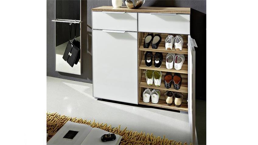 Schuhschrank CARGON Schrank in weiß und walnuss Dekor