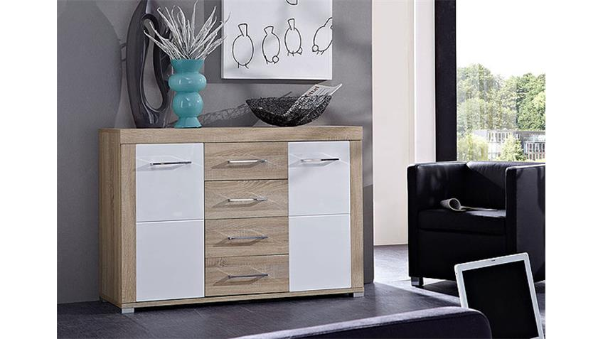 sideboard zento wei hochglanz sonoma eiche hell. Black Bedroom Furniture Sets. Home Design Ideas