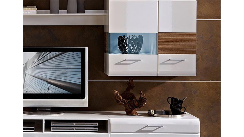 Wohnwand NANDEZ 3 weiß Hochglanz Sonoma sägerau dunkel