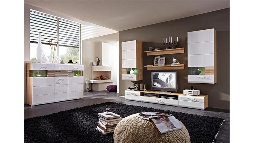 highboard nandez wei hochglanz sonoma eiche s gerau hell. Black Bedroom Furniture Sets. Home Design Ideas