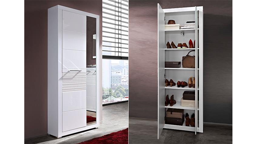 Garderoben-Set LIFE 5-teilig MDF Weiß Hochglanz geriffelt