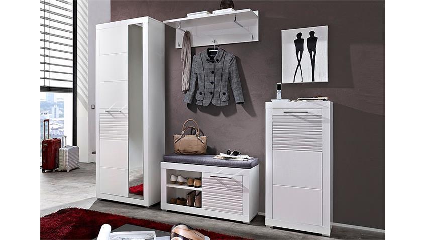 Garderobe LIFE Set 4-teilig MDF weiß Hochglanz geriffelt