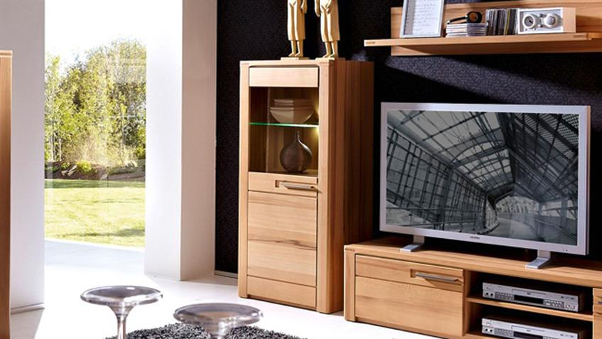 vitrine links nature plus 60 cm breit kernbuche teilmassiv lackiert mit led. Black Bedroom Furniture Sets. Home Design Ideas