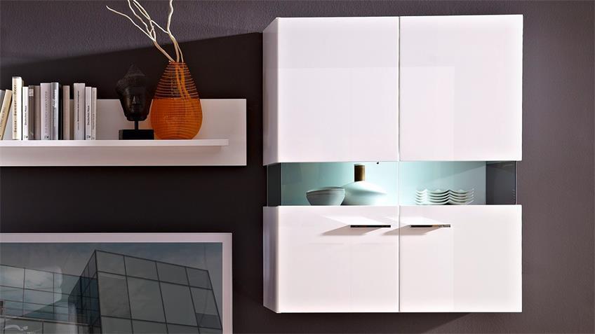 Wohnwand MANHATTAN 1 weiß Hochglanz mit LED Beleuchtung