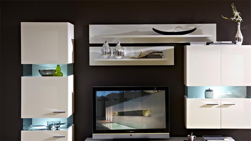 Wohnwand MANHATTAN 3 weiß Hochglanz mit LED Beleuchtung