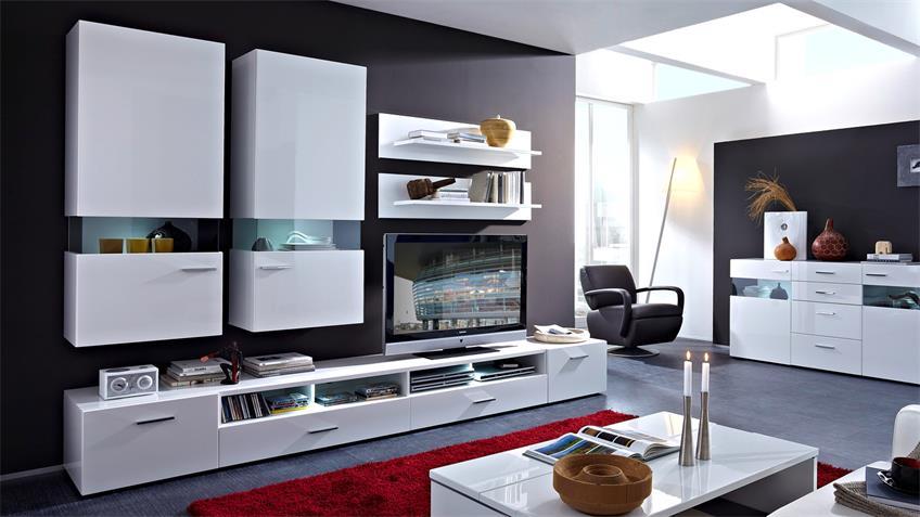 Wohnwand MANHATTAN 4 weiß Hochglanz mit LED Beleuchtung
