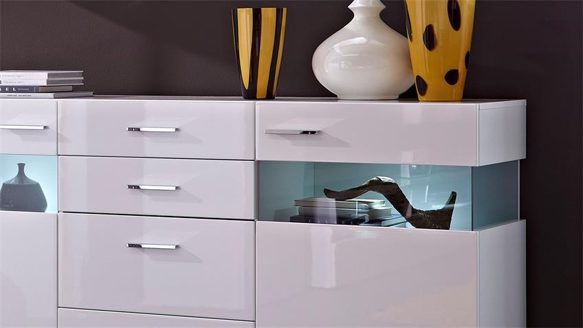 Sideboard MANHATTAN weiß hochglanz Glaseinlage Beleuchtung