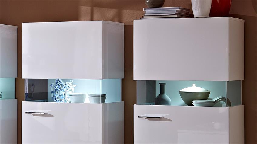 Vitrine MANHATTAN 3 Stück weiß Hochglanz Glaseinlage LED