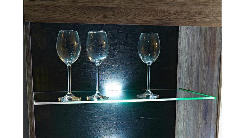 Wohnwand DEAL 3 San Remo Eiche Vitrinen TV-Board mit LED