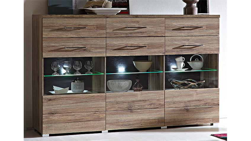 Highboard DEAL Schrank San Remo Eiche Glaseinsatz und LED