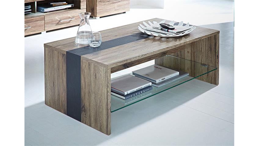 Couchtisch deal tisch in san remo eiche dekor mit glasboden for Couchtisch und esstisch passend