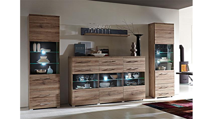 Wohnkombination DEAL Highboard Vitrinen San Remo Eiche LED