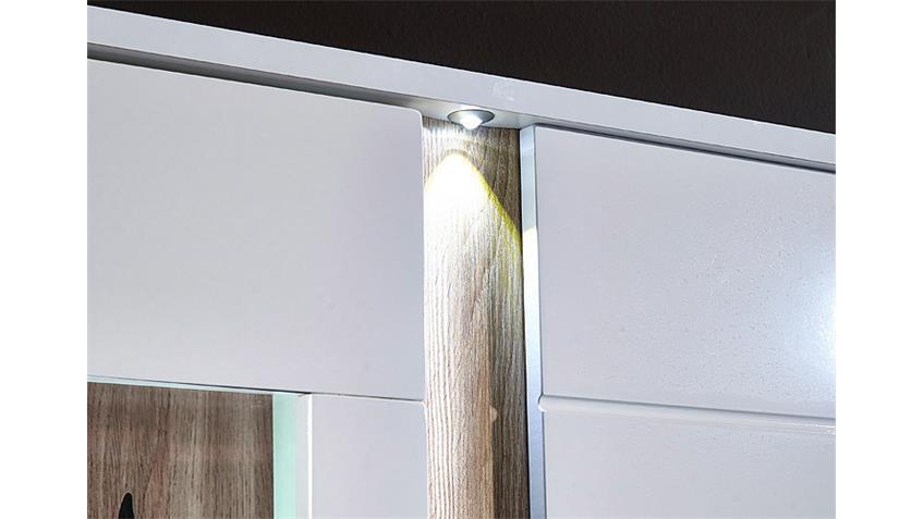 Vitrine SPOT Weiß Hochglanz Sonoma Eiche Sägerau hell + LED