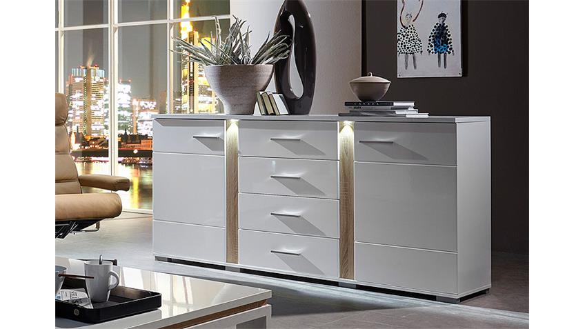 sideboard spot wei hochglanz sonoma eiche s gerau hell led. Black Bedroom Furniture Sets. Home Design Ideas