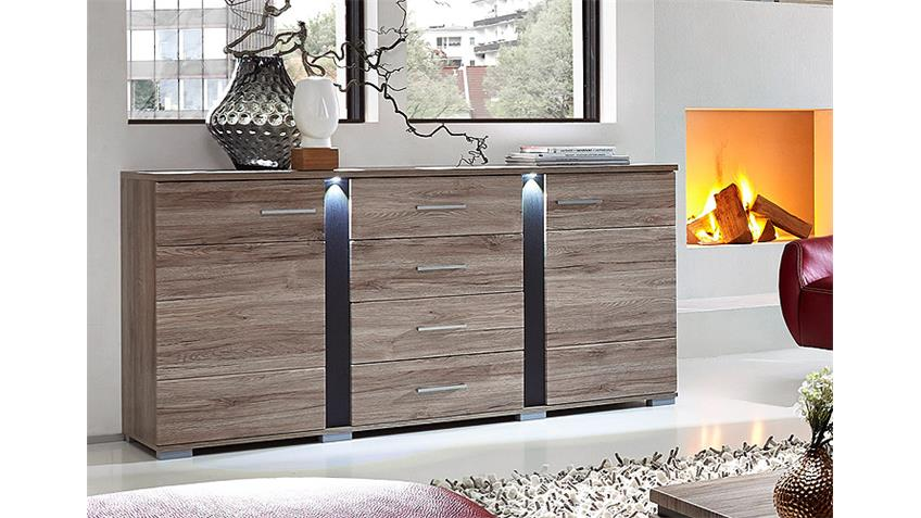 Sideboard SPOT San Remo Eiche Schiefer + LED