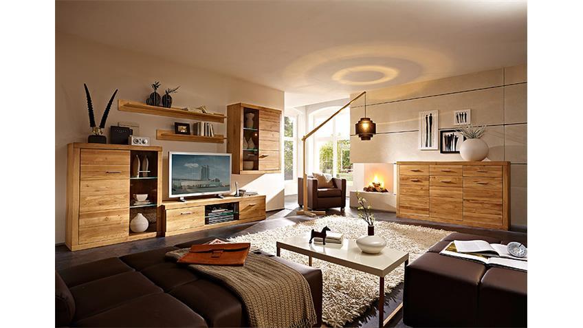 Wohnwand PUR Anbauwand Wohnzimmer in Wildeiche massiv LED