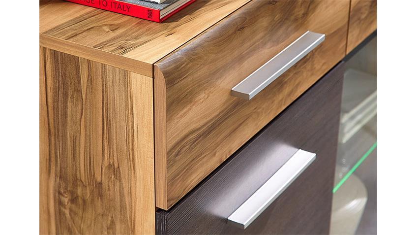 Sideboard HEAT Nussbaum Satin Pinie Dunkel Touchwood + LED