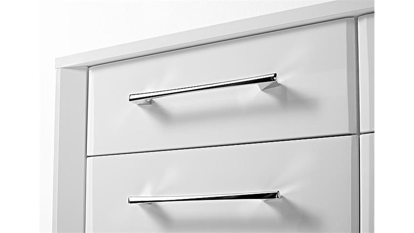 Sideboard GO in weiß Hochglanz Chrom 148 cm