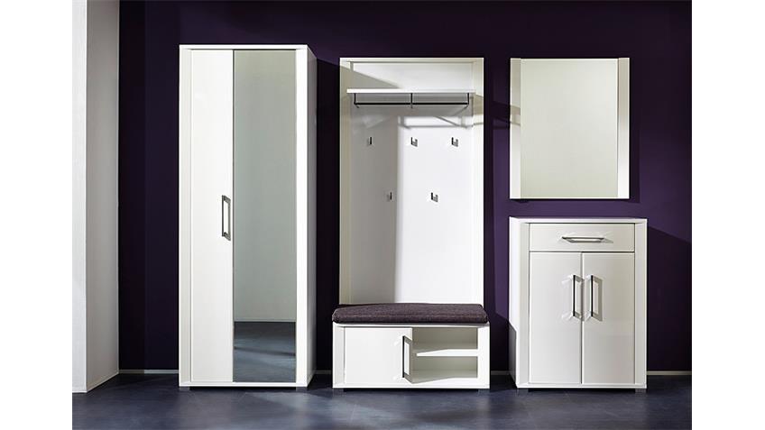 Garderobenset GO Flurmöbel Garderobe in weiß Hochglanz MDF