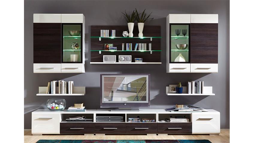 Wohnwand HEAT Hochglanz weiß und Pinie Dunkel inkl. LED