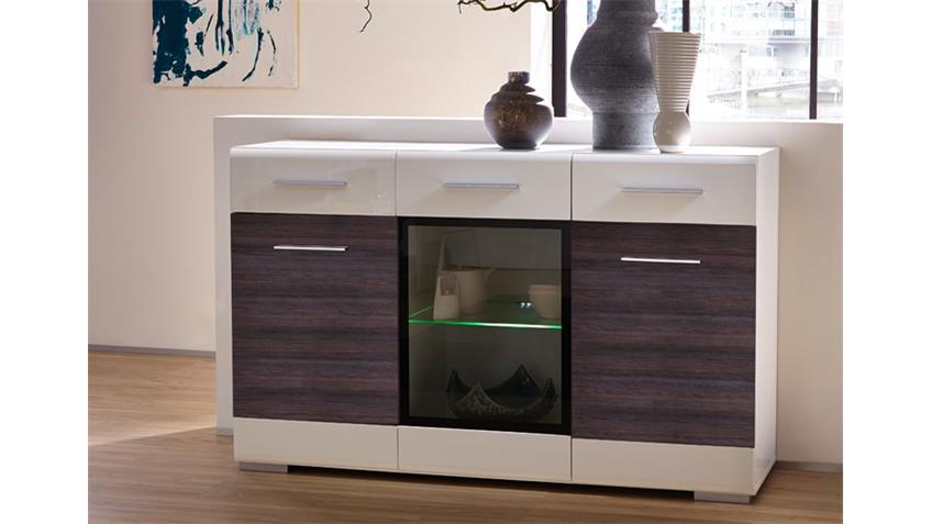 Sideboard HEAT Hochglanz weiß und Pinie dunkel inkl. LED