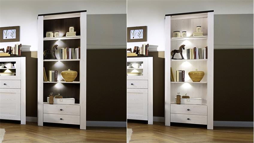 regal antwerpen b cherregal l rche pinie dunkel inkl led. Black Bedroom Furniture Sets. Home Design Ideas