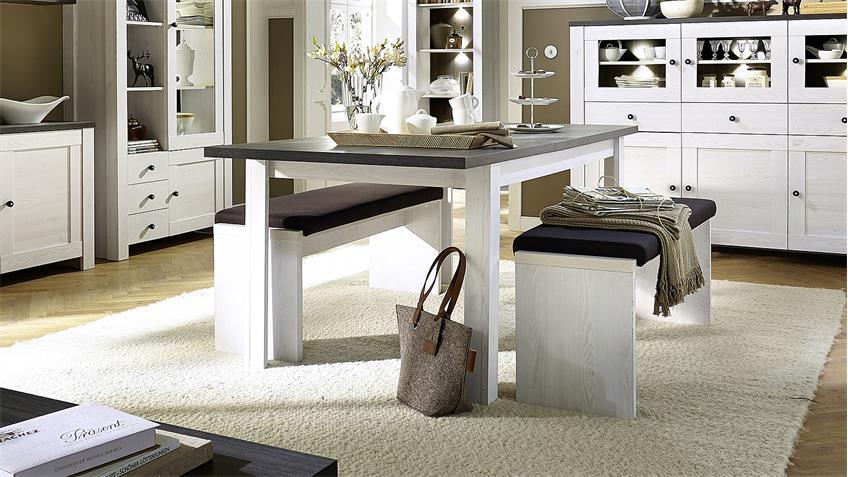 esstisch antwerpen tisch l rche und pinie dunkel ausziehbar. Black Bedroom Furniture Sets. Home Design Ideas