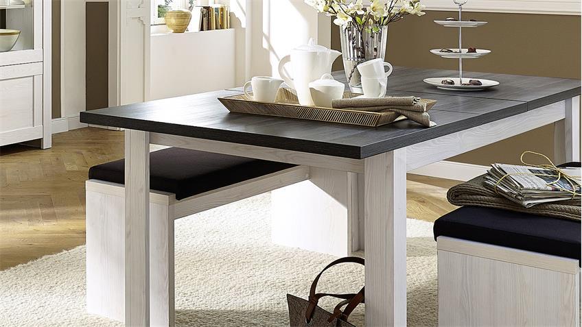 Esstisch ANTWERPEN Tisch Lärche und Pinie dunkel ausziehbar