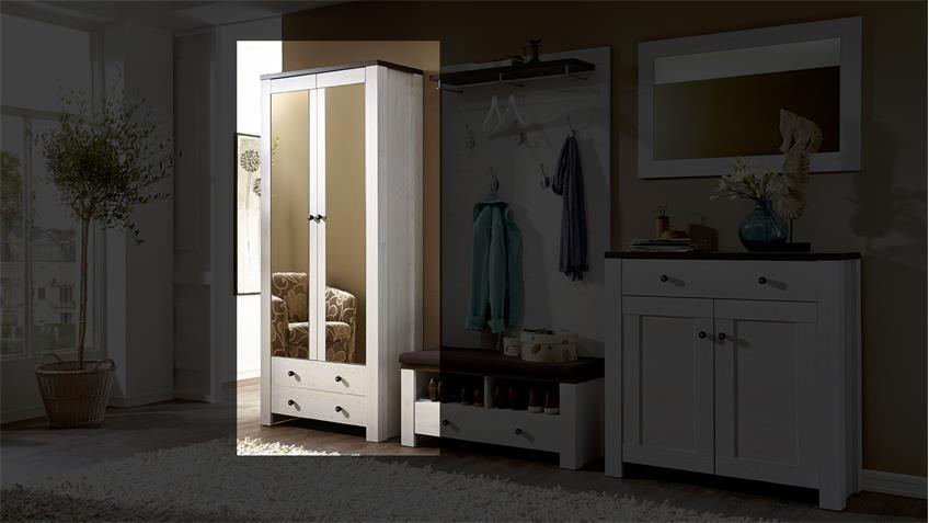 Garderobenschrank 2 ANTWERPEN in Lärche und Pinie dunkel