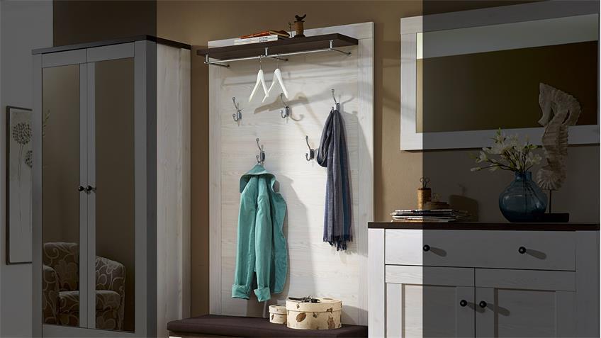 Garderobenpaneel ANTWERPEN in Lärche und Pinie dunkel