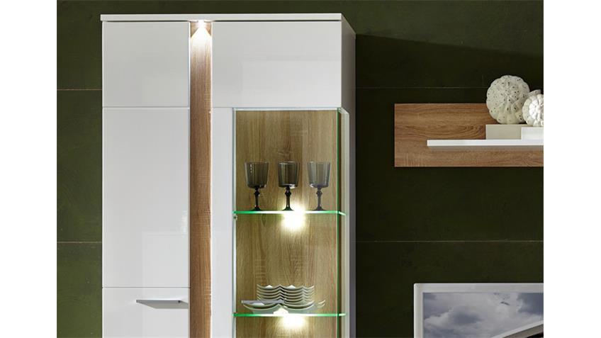 Wohnwand SPOT 2 weiß Hochglanz Sonoma Eiche hell inkl. LED