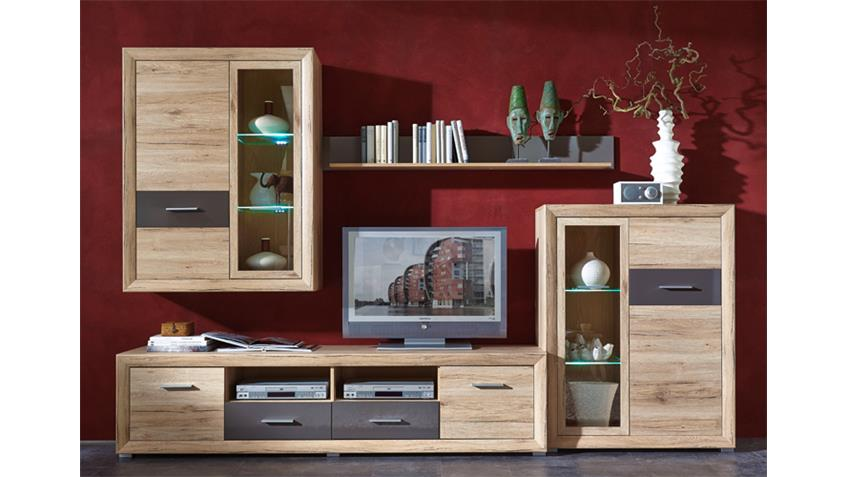 wohnwand und sideboard 1 swing san remo eiche hell inkl led. Black Bedroom Furniture Sets. Home Design Ideas