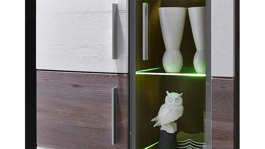Wohnwand JAM Weiß Silbereiche LED-Beleuchtung