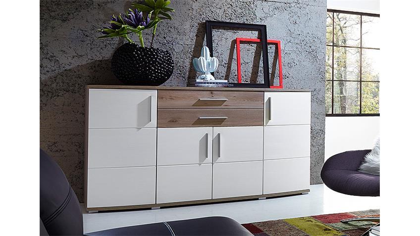 Sideboard JAM Kommode Anrichte in weiß Silbereiche Dekor