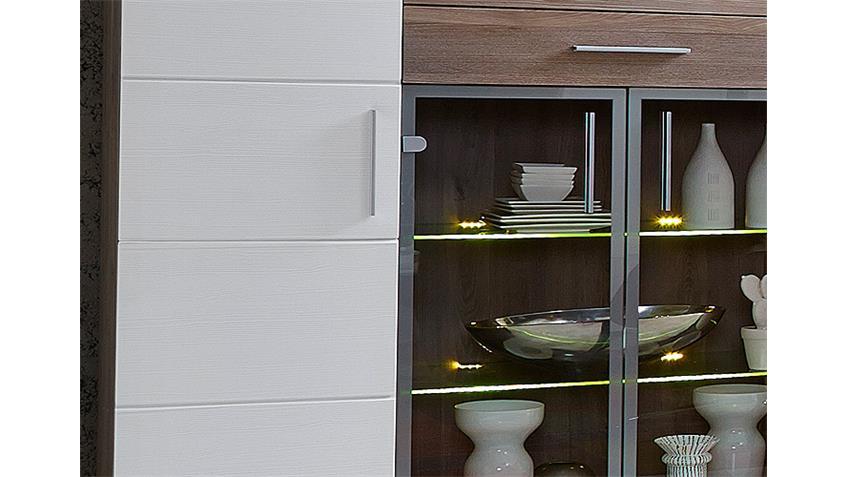 Highboard JAM Kommode Anrichte in weiß Silbereiche inkl LED