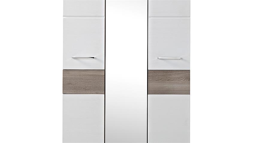 Garderobenschrank FUNNY weiß Silbereiche Spiegel