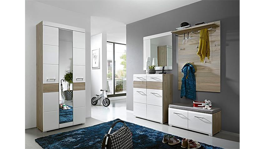 Schuhschrank FUNNY Garderobenschrank weiß und Silbereiche